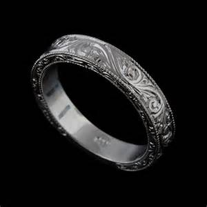 mens white gold wedding bands 14k solid white gold deco style engraved mens wedding band orospot jewelry on artfire