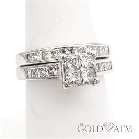 14k white gold 4 square diamond engagement ring set the