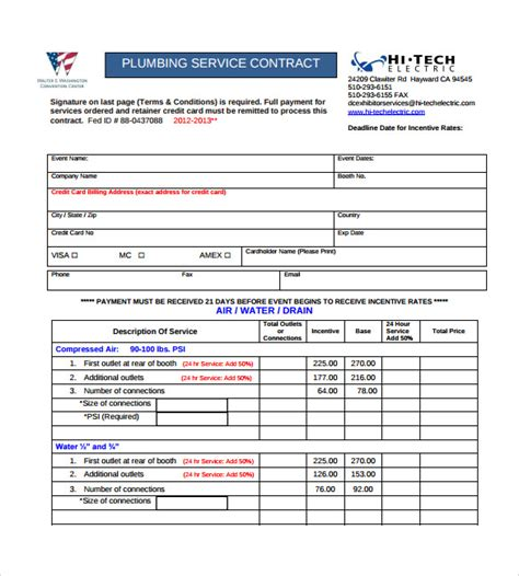 plumbing contract templates   ms word