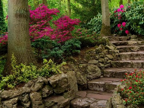 garden, Stairs, Flowers Wallpapers HD / Desktop and Mobile ...