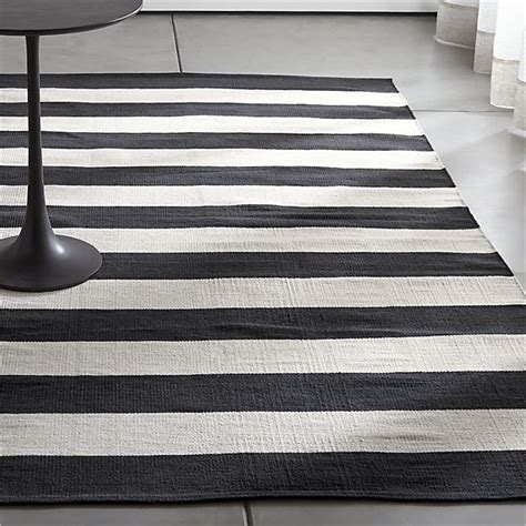 black and white rugs olin black striped cotton dhurrie rug crate and barrel