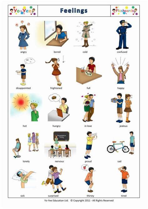 Feelings And Emotions Flashcards For Kids