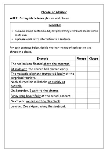 Spag Worksheet Identify Phrases And Clauses By Chloef23  Teaching Resources Tes