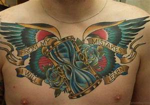 Hourglass With Wings Designs 75 Brilliant Chest Tattoos For Men