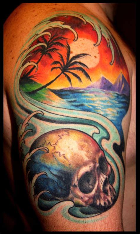 Off The Map Tattoo Tattoos Nature Skull Sunset