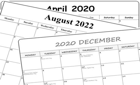 collection  templates  printable calendars planners