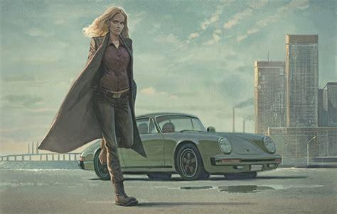 wallpaper girl police art car porsche detective saga