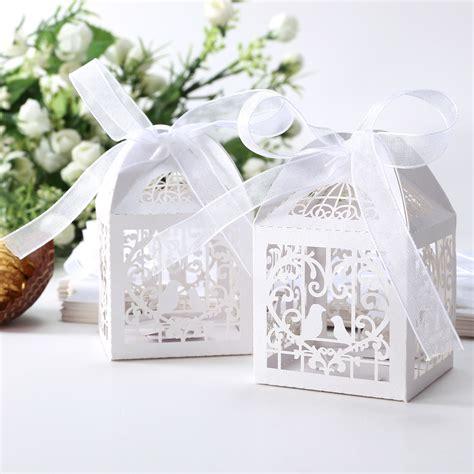 pcs wedding laser cut favor boxes hollow cut love birds