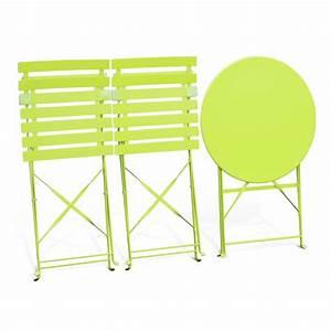 Table Jardin Pliable : salon de jardin bistrot pliable emilia rond vert anis table 60cm avec deux chaises pliantes ~ Teatrodelosmanantiales.com Idées de Décoration