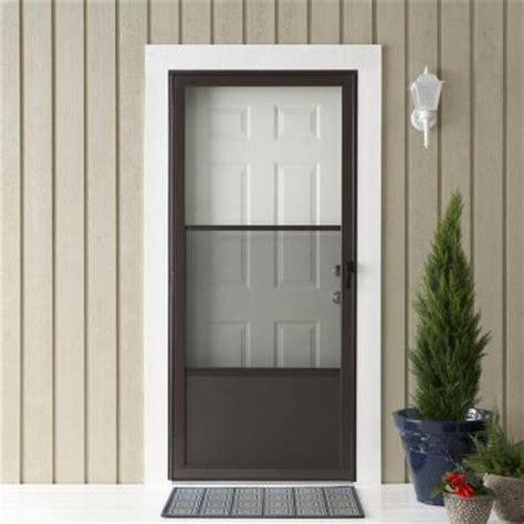 emco screen door emco 75 series bronze aluminum self storing door