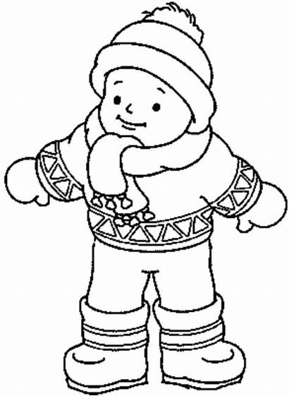Coloring Winter Clothes Pages Boy Wearing Boots