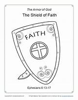 Faith Coloring Shield Bible Pages God Armor Sunday Children Simple Printable Activity Ephesians Sundayschoolzone Breastplate Righteousness Lesson Pdf Soldier sketch template