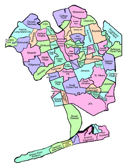 queens neighborhoods map  travel information