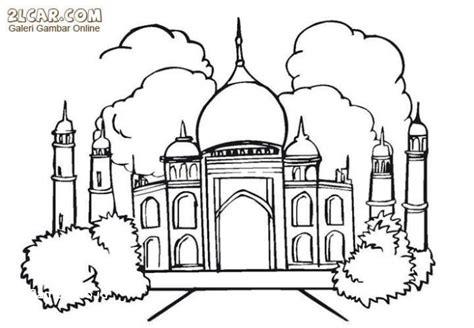 sketsa gambar mewarnai masjid untuk anak mari mewarnai