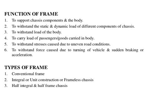 Frame, Chassis And Drives