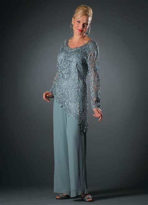 C805803 Asymmetrical Silk Lace Tunic Pants Set | Long ...