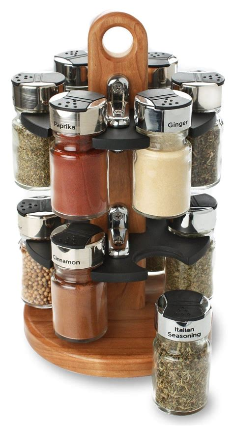 Thompson Spice Rack by Olde Thompson 12 Jar Spice Filled Carousel Wooden Spice