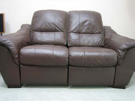 Recliner Settee by Leather Sofa Settee Recliner 2 Seater Brown In