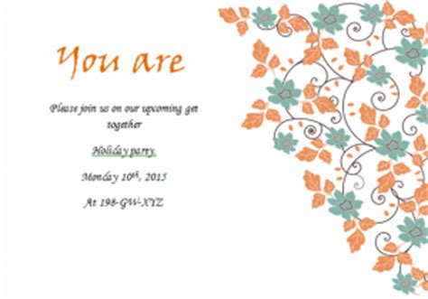 simple holiday invitation cards  excel templates