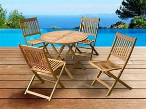 Chaise Jardin Bois : salon de jardin en bois exotique delhi sydney table pliante d90 cm 4 chaises pliantes 66416 ~ Teatrodelosmanantiales.com Idées de Décoration