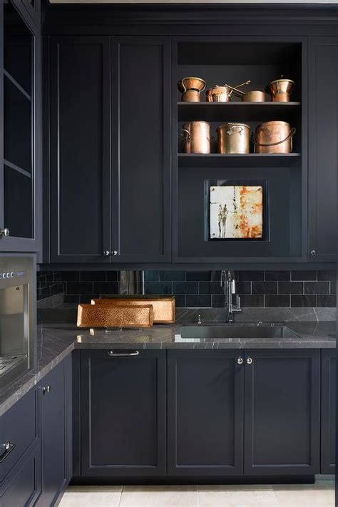 Black Marble with Black Butler Pantry Cabinets