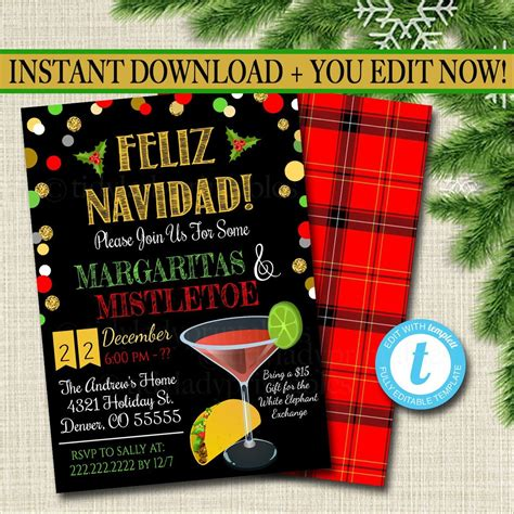 editable margaritas  mistletoe invitation christmas