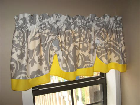 yellow and gray kitchen curtains valance window curtain swagged swag custom made by