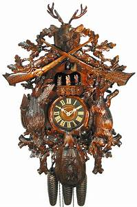 Cuckoo, Clock, 8-day-movement, Carved-style, 67cm, By, August, Schwer