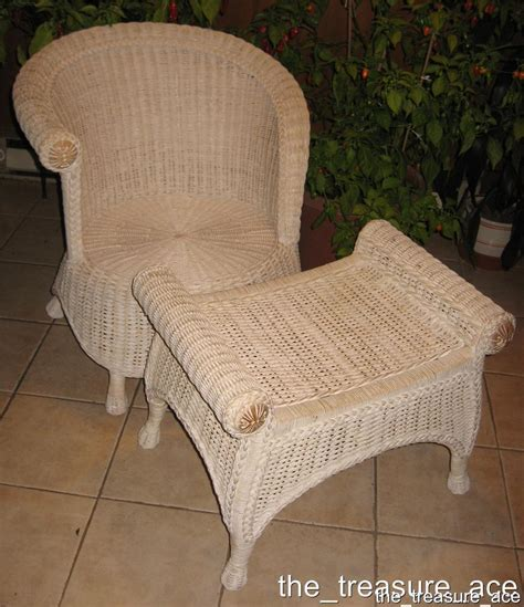 shabby chic wicker furniture pier one shabby chic white wicker set chair ottoman jamaican collection exc con ebay