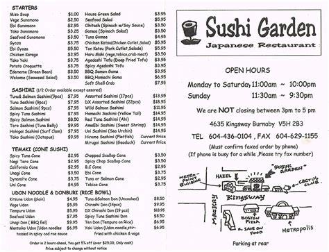 Garden Menu by Sushi Garden On Kingsway Metrotown