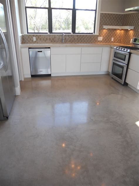acid wash concrete Kitchen Contemporary with concrete
