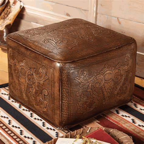 vintage leather footstool antique brown large colonial tooled leather ottoman 3235