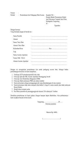 surat pernyataan bersedia sebagai penanggung jawab toko obat