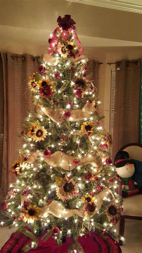 sunflower theme christmas tree plaidburlap