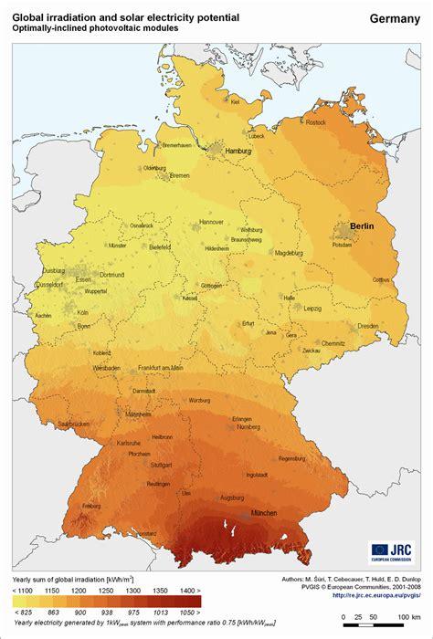 sonneneinstrahlung potenzial fuer solaranlagen  deutschland