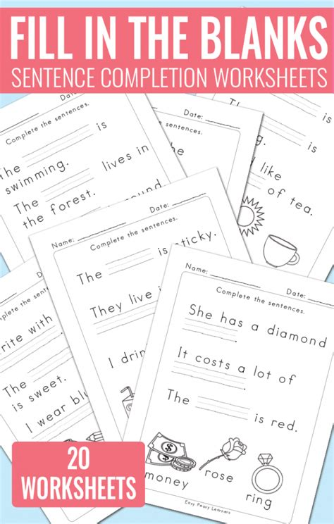 fill in the blanks sentence completion worksheets