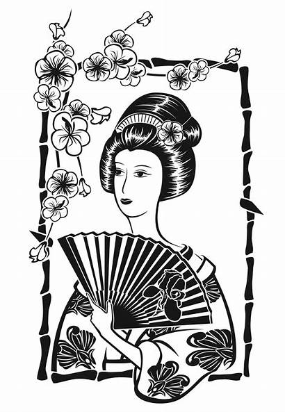 Coloring Pages Geisha Fan Japan Adult Adults