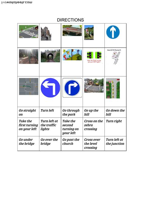 directions giving directions worksheet