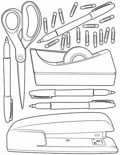 Coloring Office Supplies Pages Adult Sunday Printable