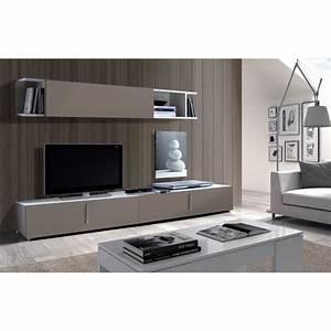 Meuble Tv Mural Blanc : lyon meuble tv mural 200 cm gris blanc achat vente ~ Dailycaller-alerts.com Idées de Décoration