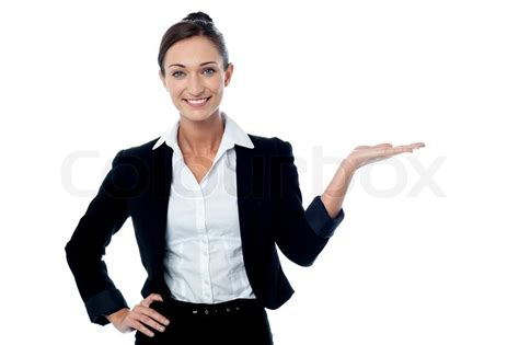 Pretty Woman Promoting Business Product Stock Photo