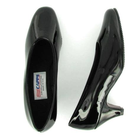 flight  black shiny patent high pump uniform