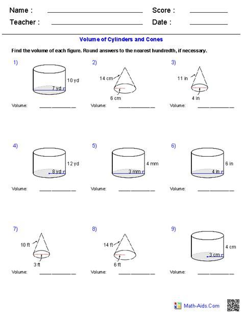 volume of a cylinder word problems worksheet worksheets