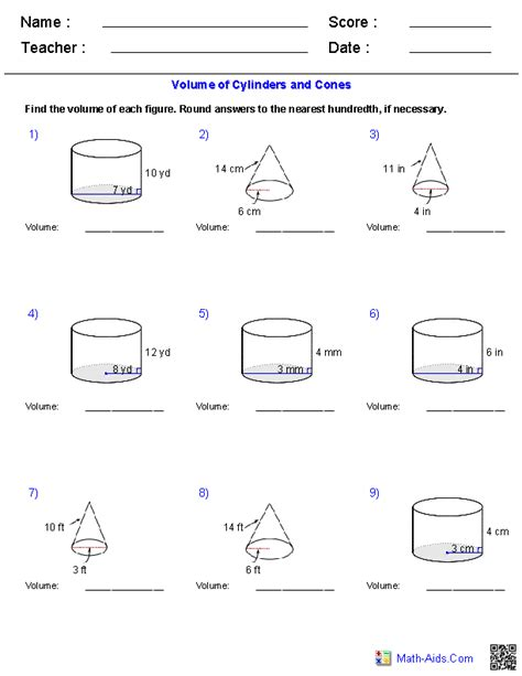 Geometry Worksheets  Surface Area & Volume Worksheets