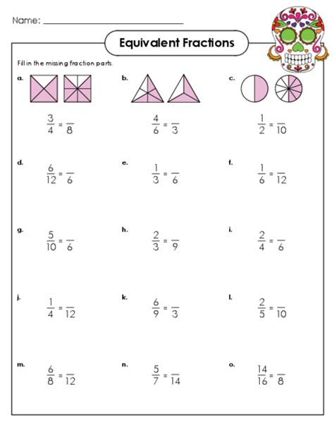 Equivalent Fractions Worksheets 4th Grade  Free Equivalent Fractions Worksheets With Visual