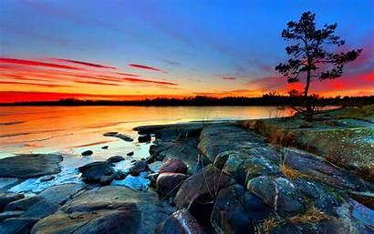 Desktop Screen Sunset Sea Rocky Sky Horizon