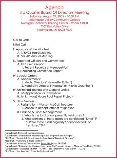 formal meeting agenda template   samples  word