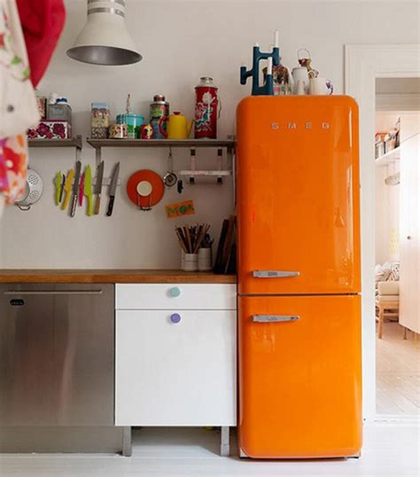 retro orange smeg fridge