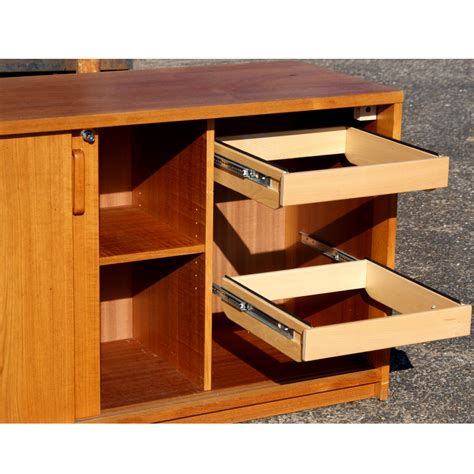 credenza file cabinet 65 quot mid century wood wall credenza file cabinet ebay