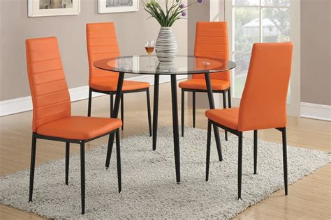 5pc glass top dining table set orange chairs